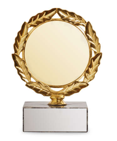 gold trophy with laurel wreath isolated on white background. Sports award. Champion cup