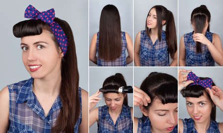 pony tail: simple hairstyle pony tail tutorial for woman. Hairstyle for long hair. Pin-up style Stock Photo