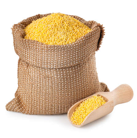 Millet sack with scoop isolated on white background.
