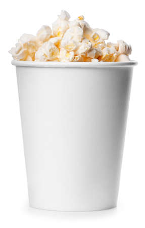 popcorn bowls: White takeaway cup full of popcorn isolated on white background.