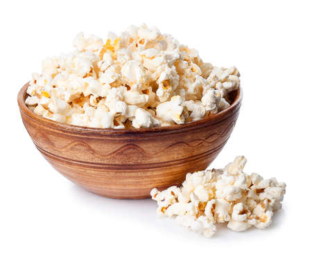 bowls of popcorn: Popcorn in brown bowl on white background.
