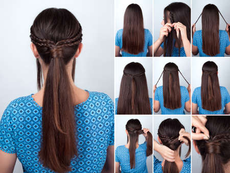simple hairstyle pony tail with braids hair tutorial. Hairstyle for long hair. Hairstyle tutorial for long hair