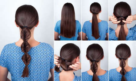 pony tail: simple hairstyle twisted pony tail with scrunchy tutorial. Hairstyle tutorial for long hair. Hairstyle