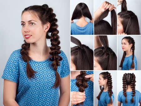 tutorial: Hair tutorial. Hairstyle volume braids tutorial. Backstage technique of weaving plaits. Hairstyle. Tutorial Stock Photo