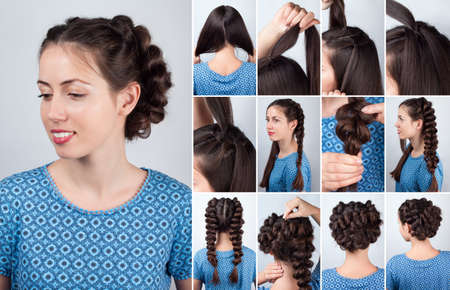 backstage: Hair tutorial. Hairstyle volume braids tutorial. Backstage technique of weaving plaits. Hairstyle. Tutorial. Braided updo tutorial
