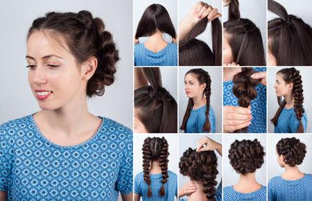 techniek: Hair tutorial. Kapsel volume vlechten tutorial. Backstage techniek van het weven vlechten. Kapsel. Tutorial. Gevlochten opsteekkapsel zelfstudie