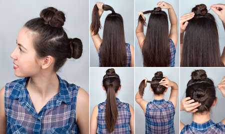tutorial: simple hairstyle two funny twisted bun tutorial. Hairstyle tutorial for long hair. Hairstyle. Tutorial. Hair model
