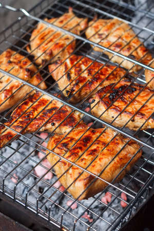 meat skewers: grilled meat skewers, barbecue. Grilled meat over the coals on a barbecue. Grill meat Stock Photo