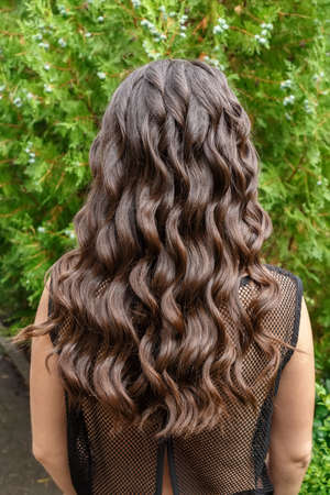 silky hair: Back view of brunette woman with long dark curly hair on garden background. Long glossy curly hair. Curly hair. Hairstyle back view Stock Photo