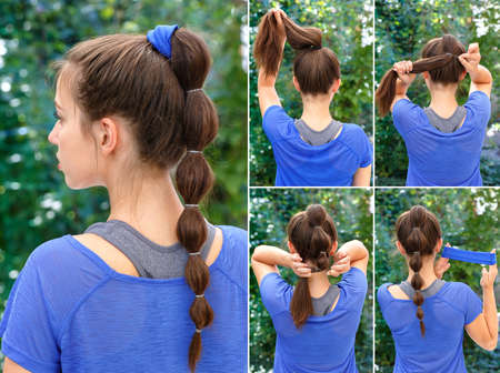 pony tail: simple hairstyle for sports pony tail with scrunchy tutorial. Hair tutorial. Backstage technique of creating pony tail with scrunchy. Hairstyle. Tutorial. Hairstyle for sports Stock Photo