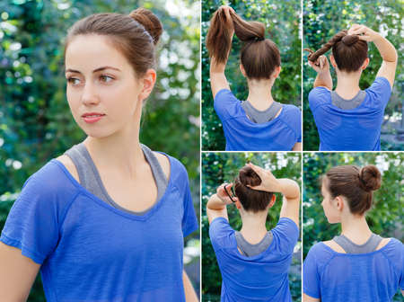 Hair tutorial. Hairstyle twisted bun tutorial. Backstage technique of twisting bun. Hairstyle. Tutorial. Hairstyle for sports Stock Photo
