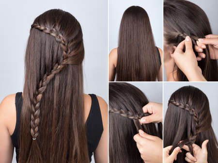 hairdo cascade braid, hair tutorial. Hairstyle for long hair. Simple hairstyle for long and medium loose hair tutorial. Braid hairstyle. Hair tutorial