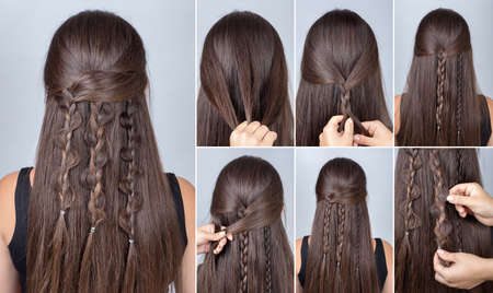 loose hair: Process of weaving braid. Hairstyle for long hair. Boho style. Hairstyle three boho braids with loose hair. Hairstyle tutorial