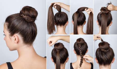 Hairstyle tutorial  elegant bun with braid. Simple hairstyle twisted bun with plait tutorial. Hairstyle tutorial for long hair. Hairstyle bun. Tutorial. Hair model. Stock Photo
