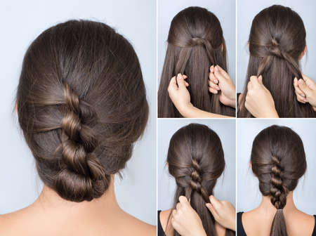 simple twisted hairstyle tutorial. Easy hairstyle for long hair. Hairstyle of twisted knots. Hairstyle tutorial Archivio Fotografico