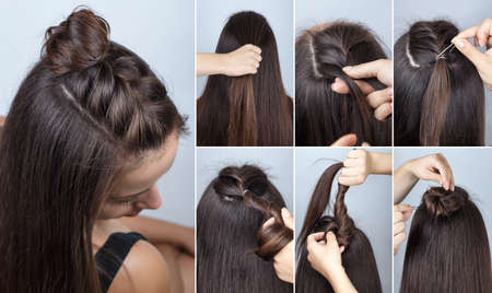modern hairstyle twisted bun and braid with loose hair. Hairstyle tutorial for long hair. Hairstyle. Tutorial. Hair model