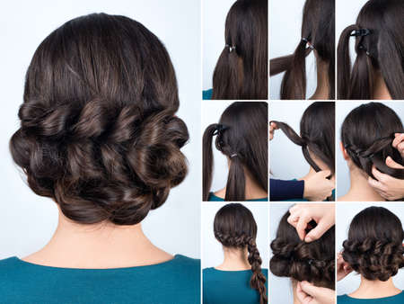 Hair tutorial. Hairstyle volume braids tutorial. Backstage technique of weaving plaits. Hairstyle. Tutorial. Braided updo tutorial. Pull through braid chignon