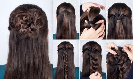 coiffure tressée rose tutoriel étape par étape. Coiffure pour cheveux longs. coiffure simple pour moyen et long tutoriel de cheveux en vrac. coiffure tressée. Tutoriel de cheveux Banque d'images