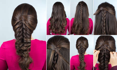 simple hairstyle volume plait on curly hair. Hairstyle tutorial for long curly hair. Hairstyle for party tutorial step by step. Hair tutorial. Mermaid braid Banque d'images