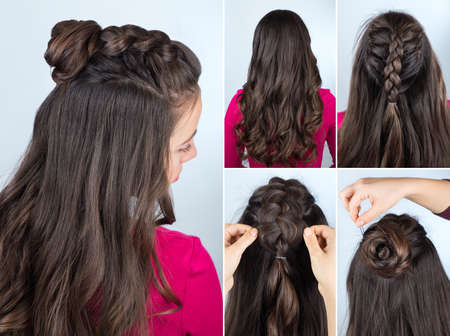 loose hair: modern hairstyle twisted bun and braid with curly loose hair. Hairstyle tutorial for long curly hair. Hairstyle for party tutorial step by step Stock Photo