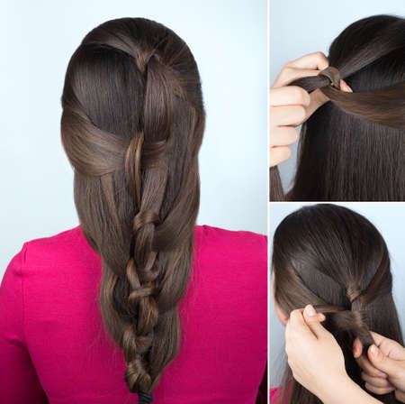 simple hairstyle twisted plait tutorial. Easy hairstyle for long hair. Hairstyle of twisted knots. Hairstyle tutorial step by step