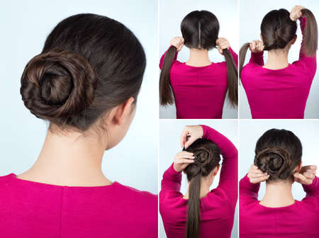 Hair tutorial step by step. Simple hairstyle twisted bun tutorial. Backstage technique of twist bun. Hairstyle for long hair Stock Photo