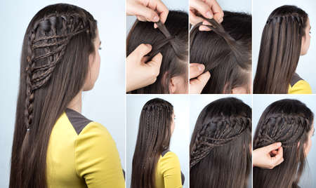 hairstyle braid waterfall with loose hair. Hairstyle tutorial for long hair. Hairstyle for party tutorial step by step Archivio Fotografico