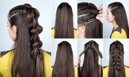 modern hairstyle braid with loose hair. Hairstyle tutorial for long  hair. Hairstyle for party tutorial step by step