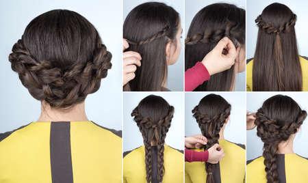 élégant updo avec des tresses. tutoriel coiffure pour cheveux longs. Coiffure pour l'étape tutoriel partie par étape