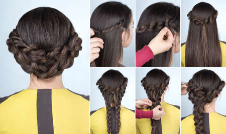 elegant updo with braids . Hairstyle tutorial for long  hair. Hairstyle for party tutorial step by step