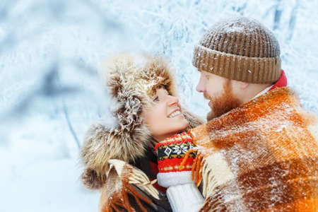 couple winter: couple hugging in winter