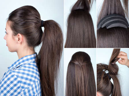 hairstyle volume ponytail tutorial Archivio Fotografico