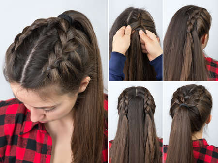 pony tail with braid hairstyle tutorial Zdjęcie Seryjne - 74496049