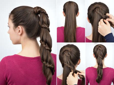 Tutorial intrecciato pony coda hairstyle tutorial Archivio Fotografico - 75498782