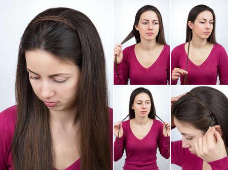 coiffure tressé cerceau tutoriel Banque d'images