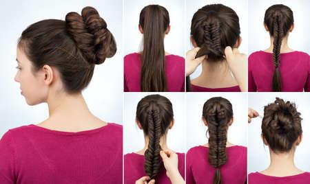 Tutoriel de coiffure Banque d'images