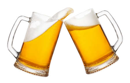 cheers, two mugs of beer toasting creating splash isolated on white background. Pair of beer mugs making toast. Beer up. Golden beer splash.  Banco de Imagens