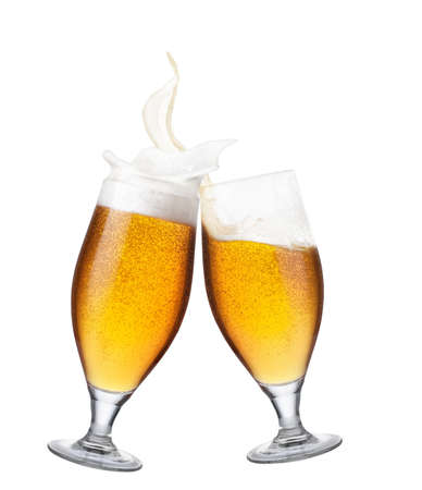 two glasses of beer with splash Banco de Imagens