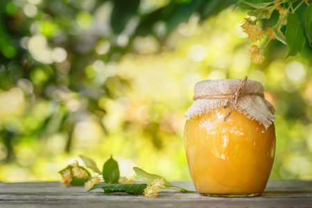 Linden honey. Glass jar of honey and linden flowers on wooden table with blurred sunshine blooming linden tree on the background. Photo with copy space Stock Photo