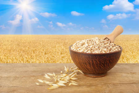 ears of oats and oatmeal with scoop in bowl on wooden table with field on the background. Ripe field, blue sky with beautiful clouds and sun. Uncooked porridge Stock Photo