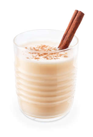 eggnog in glass isolated on white