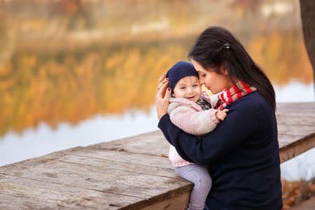 young mother with little daughter Stock Photo
