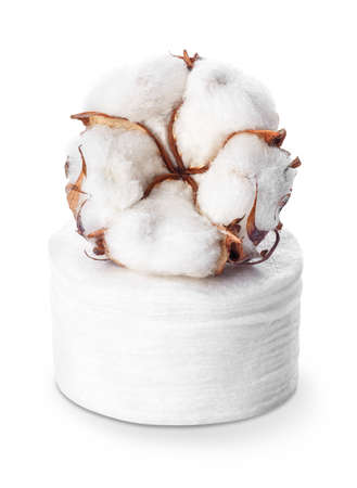 cotton cosmetic pads and cotton flower Imagens