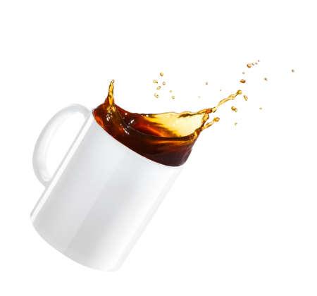 mug of spilling coffee Stock Photo
