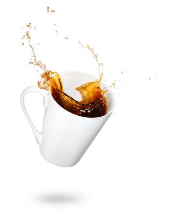 Mok koffie morsen Stockfoto