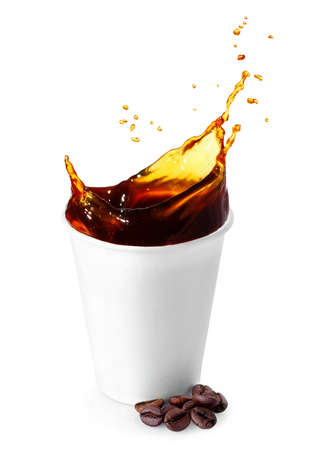 disposable cup with coffee splash