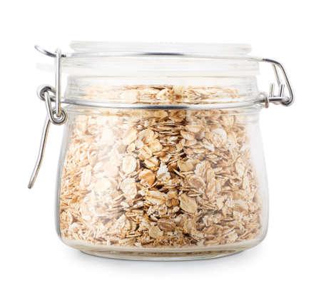 oatmeal flakes in glass jar Stok Fotoğraf