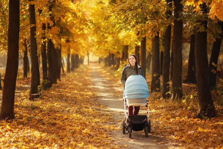 mother walking with stroller