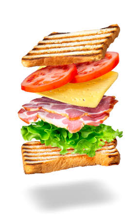 sandwich with flying ingredients