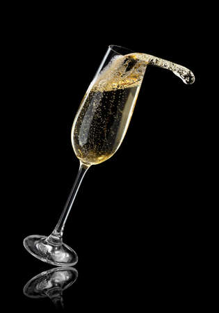 glass of champagne with splash